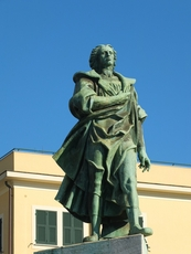 Statue of Christopher Columbus close to the port in Chiavari
