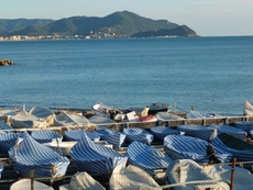 In the port of Lavagna boats are covered to protect them from the winter