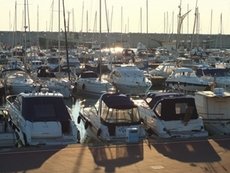 Boats and yachts anchoring in the port of Lavagna