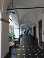 Arcades in Lavagna with tiles of slate mined in the hinterland of Liguria