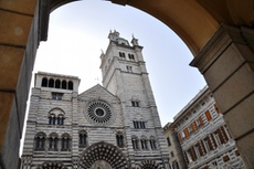 View at the impressive cathedral San Lorenzo in Genoa