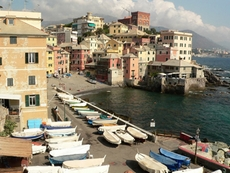 View at the beach of Boccadasse in Genoa Italy