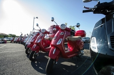 The Vespas are ready for the participants of the Vespa tour in Italy